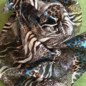 Lovely long designer zebra & leopard striped scarf